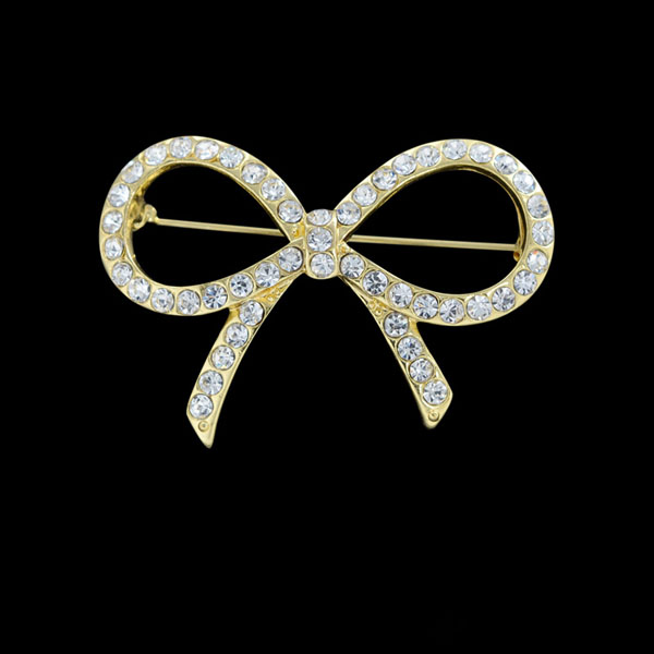 Gold Color Rhinestone Bow Brooches For Women Large Bowknot: Simple Metal Rhinestone Gold Bow Brooch BRH5854-A
