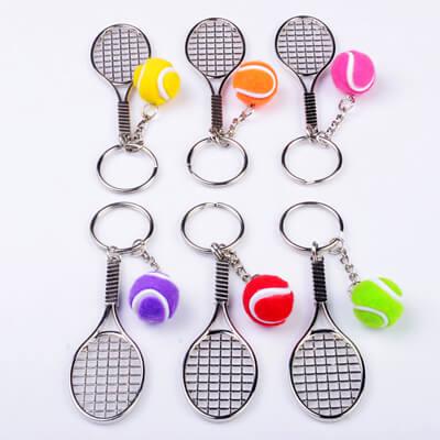 tennis racket metal keychain