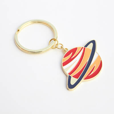 enameled metal alloy space keychain
